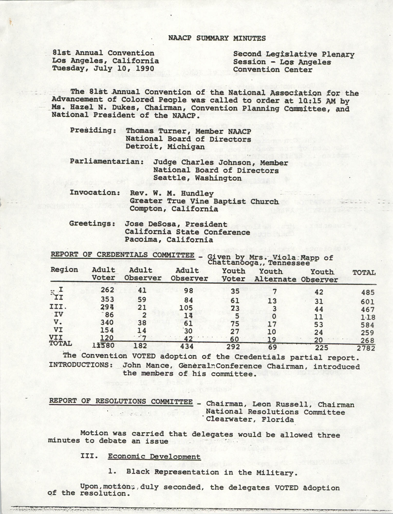 NAACP Summary Minutes, July 10, 1990