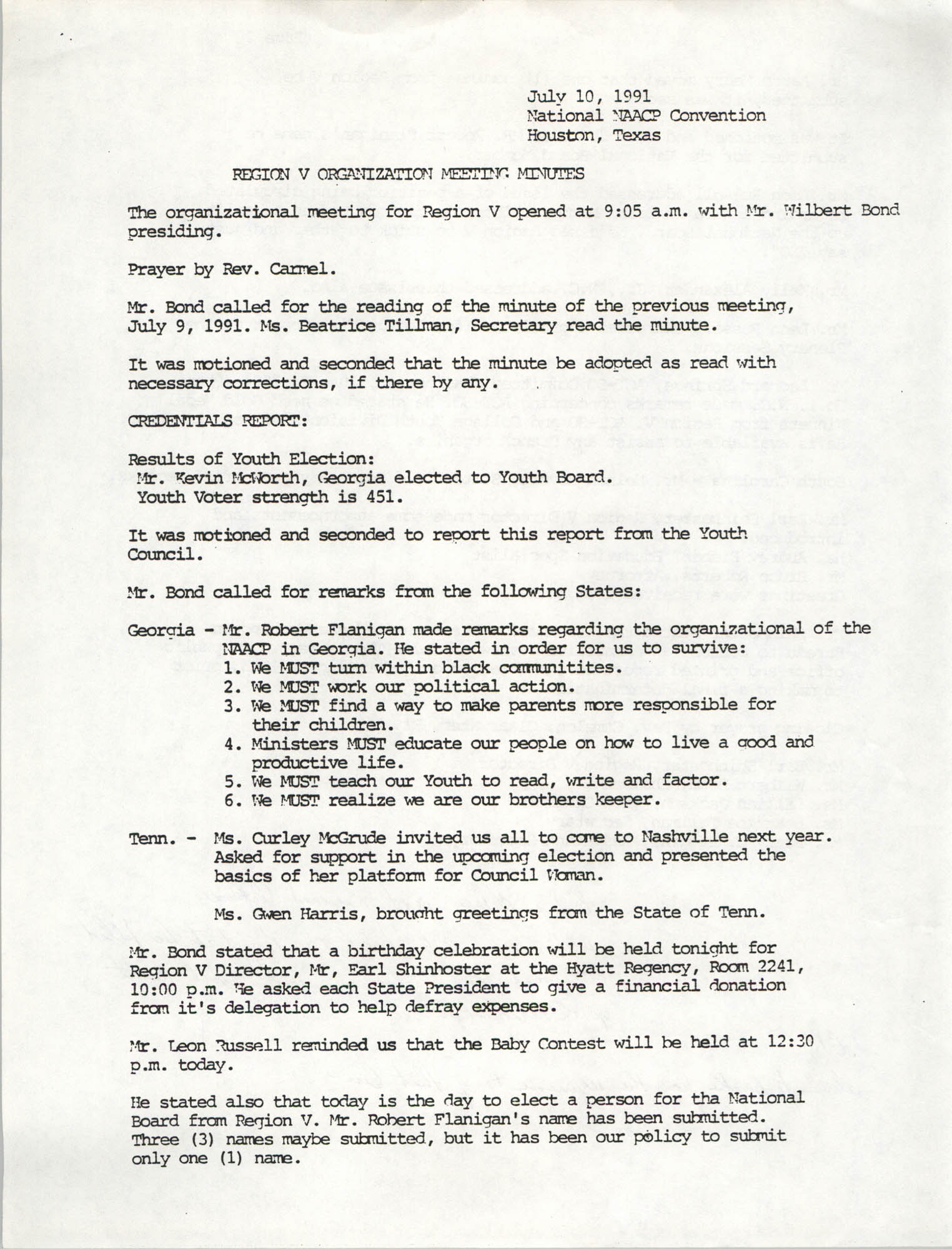 NAACP 82nd Annual Convention Region V Organization Meeting Minutes, July 10, 1991
