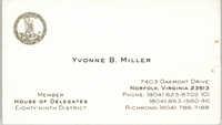 Yvonne B. Miller Business Card