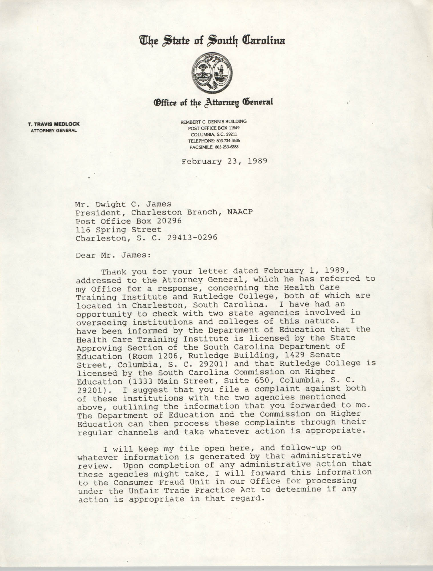 Letter from J. Emory Smith Jr. to Dwight C. James, February 23, 1989