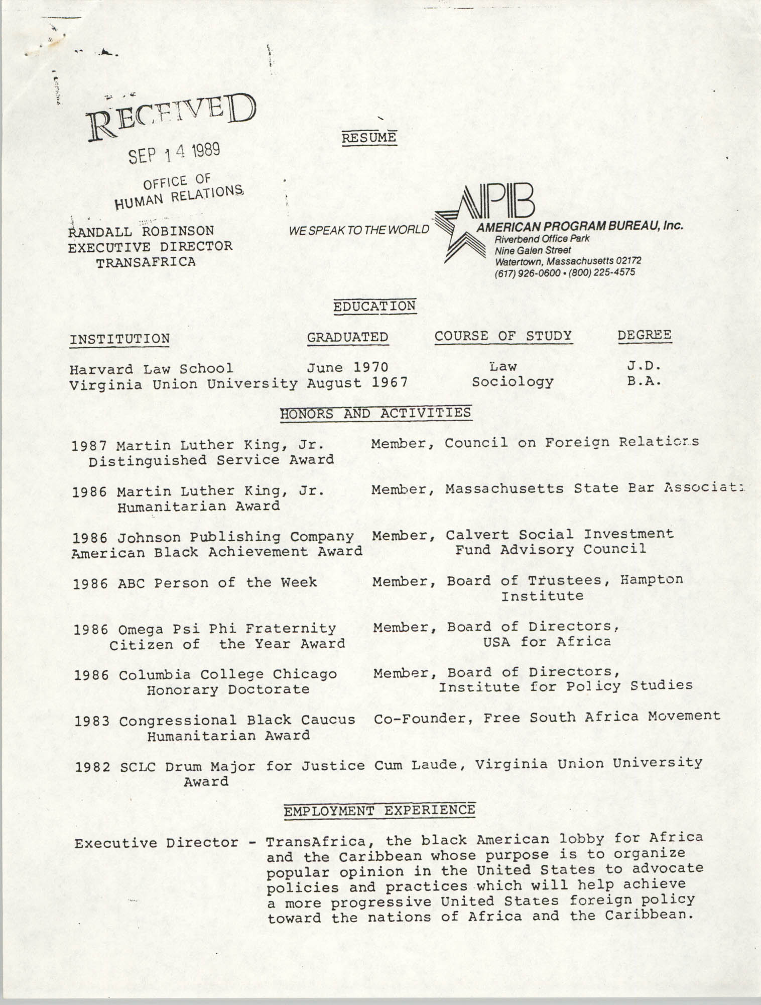 Resume, Randall Robinson, September 14, 1989