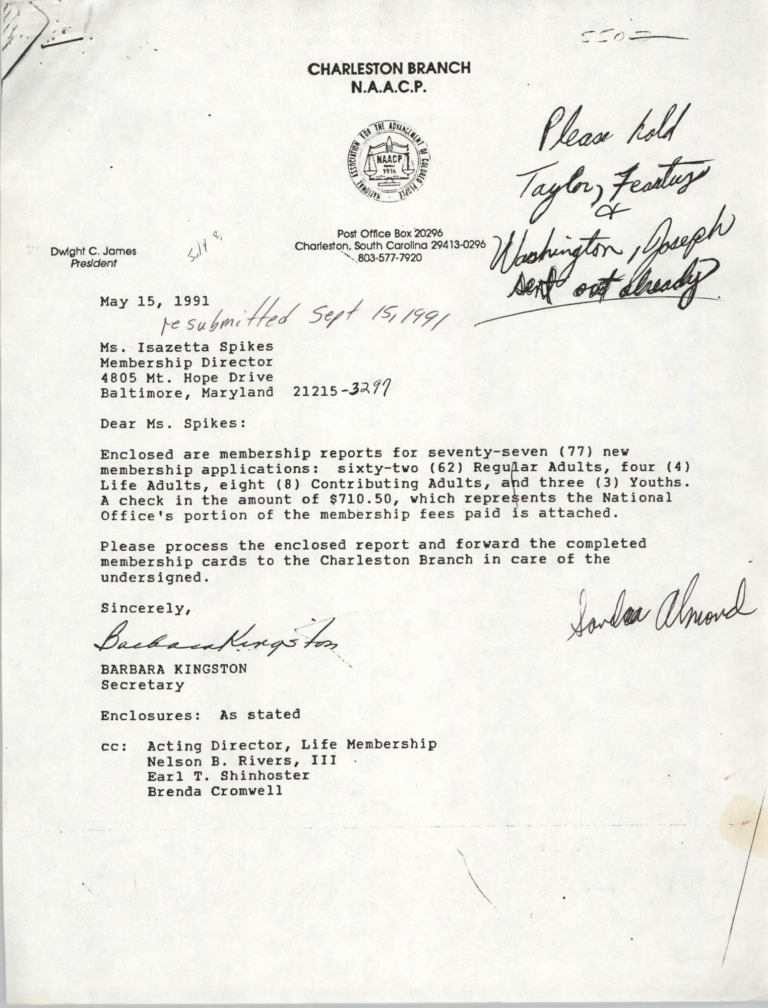 Missing Report, Letter from Barbara Kingston to Isazetta Spikes, May 15, 1991