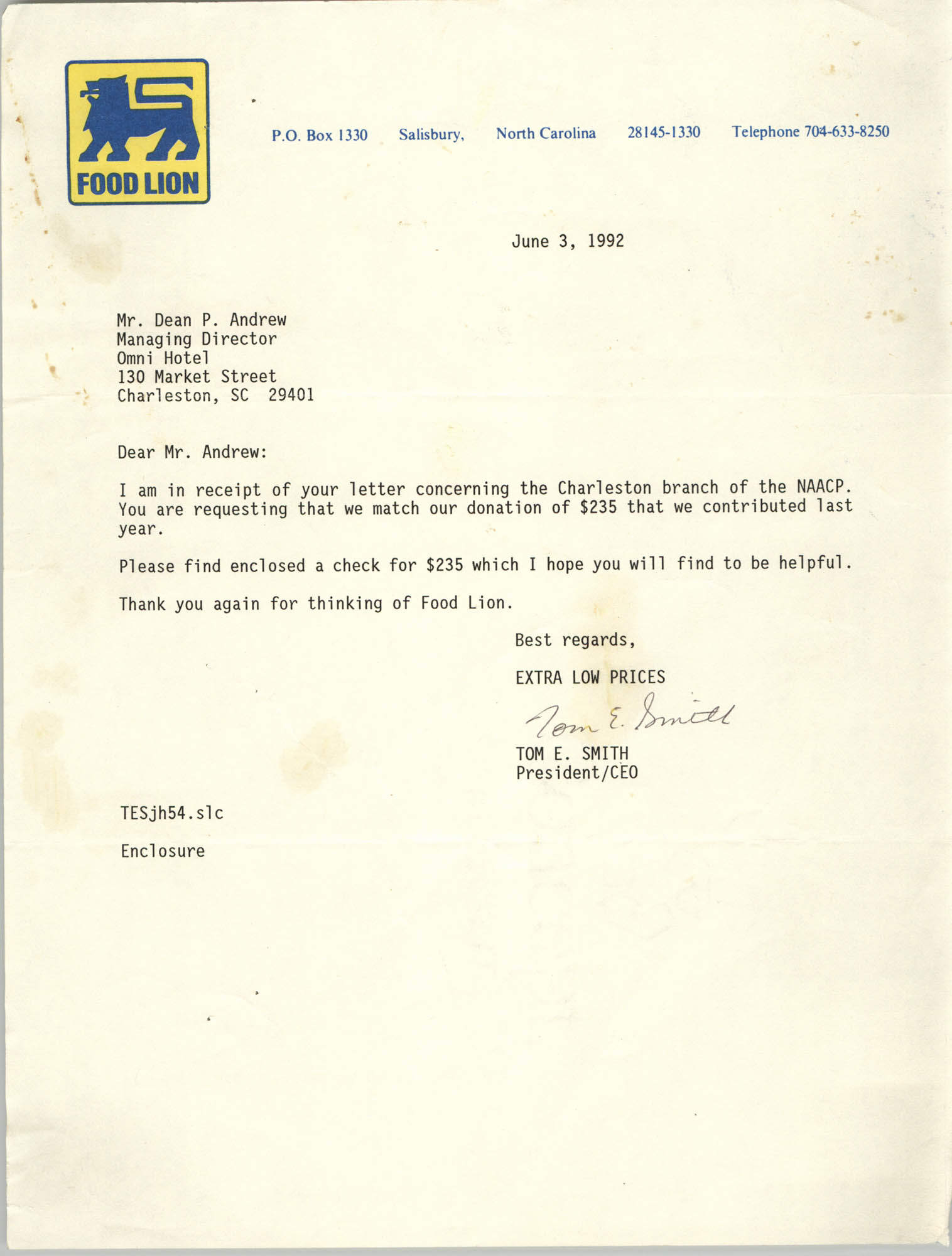 Letter from Tom E. Smith to Dean P. Andrew, June 3, 1992