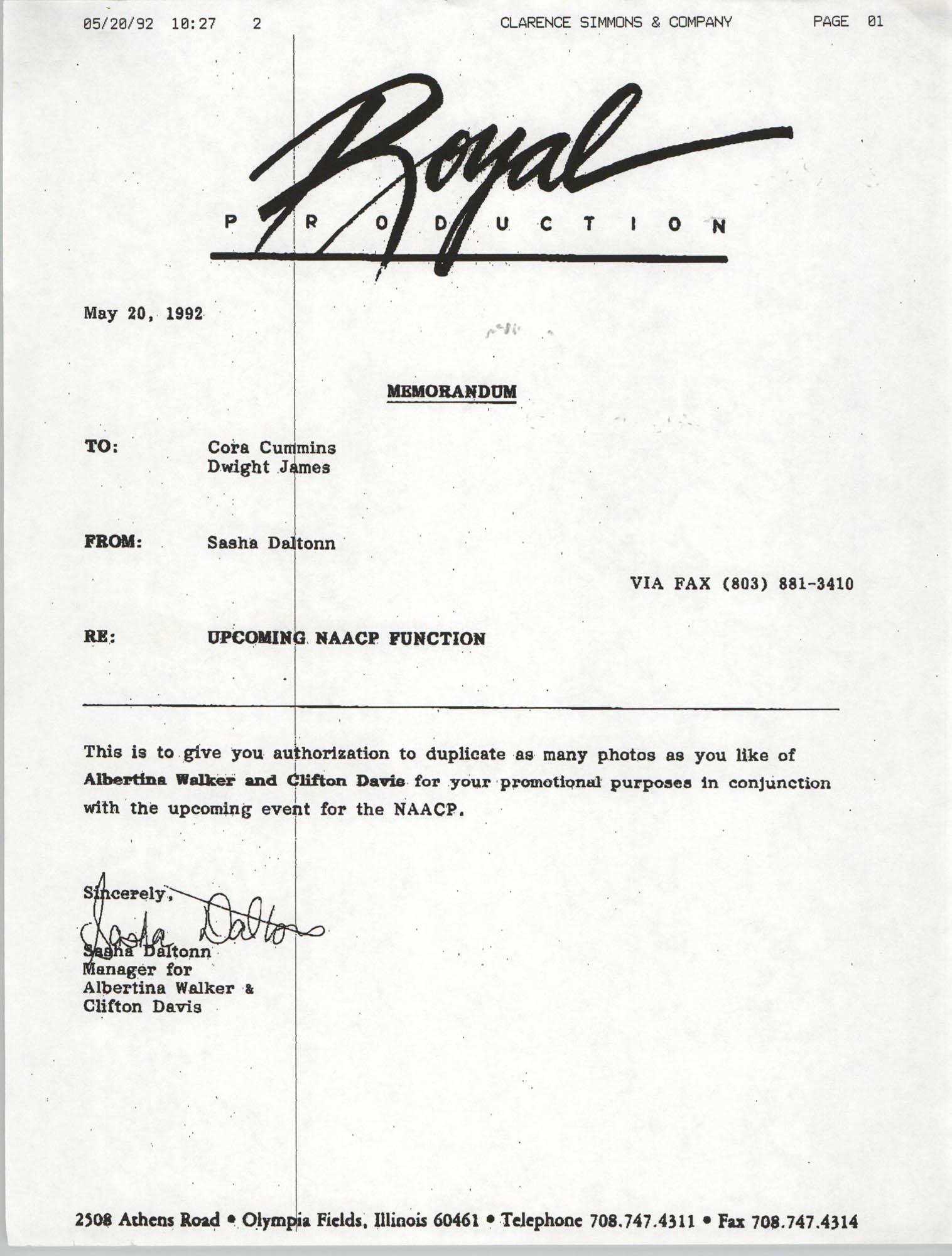 Memorandum, Sasha Daltonn, May 20, 1992