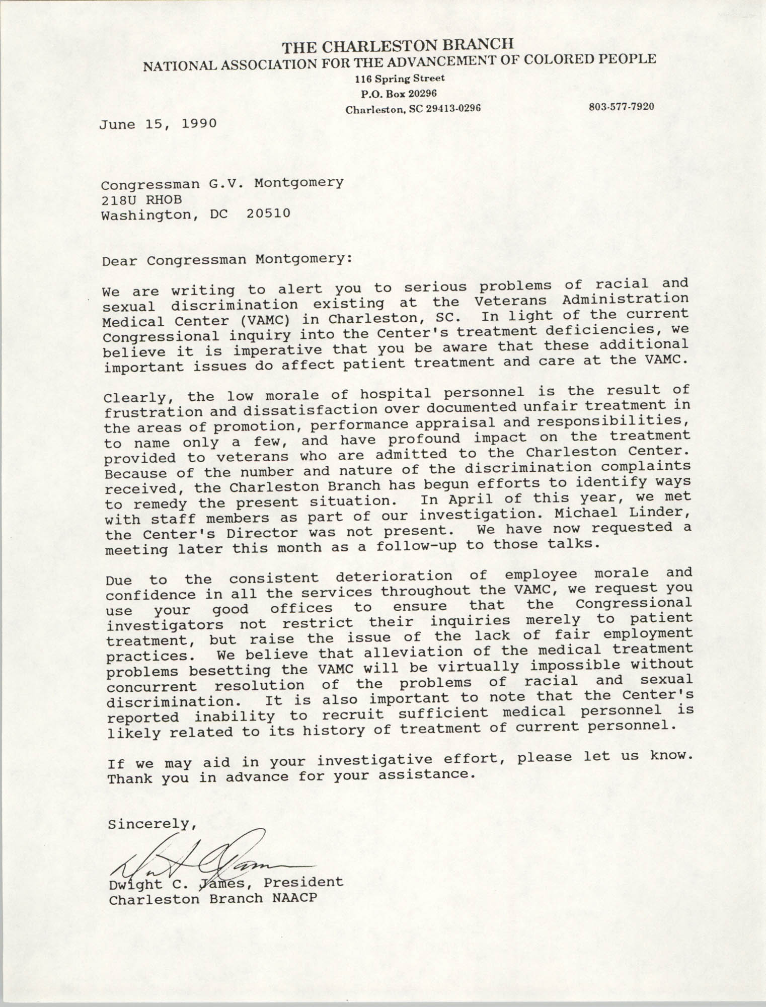Letter from Dwight C. James to G.V. Montgomery, June 15, 1990