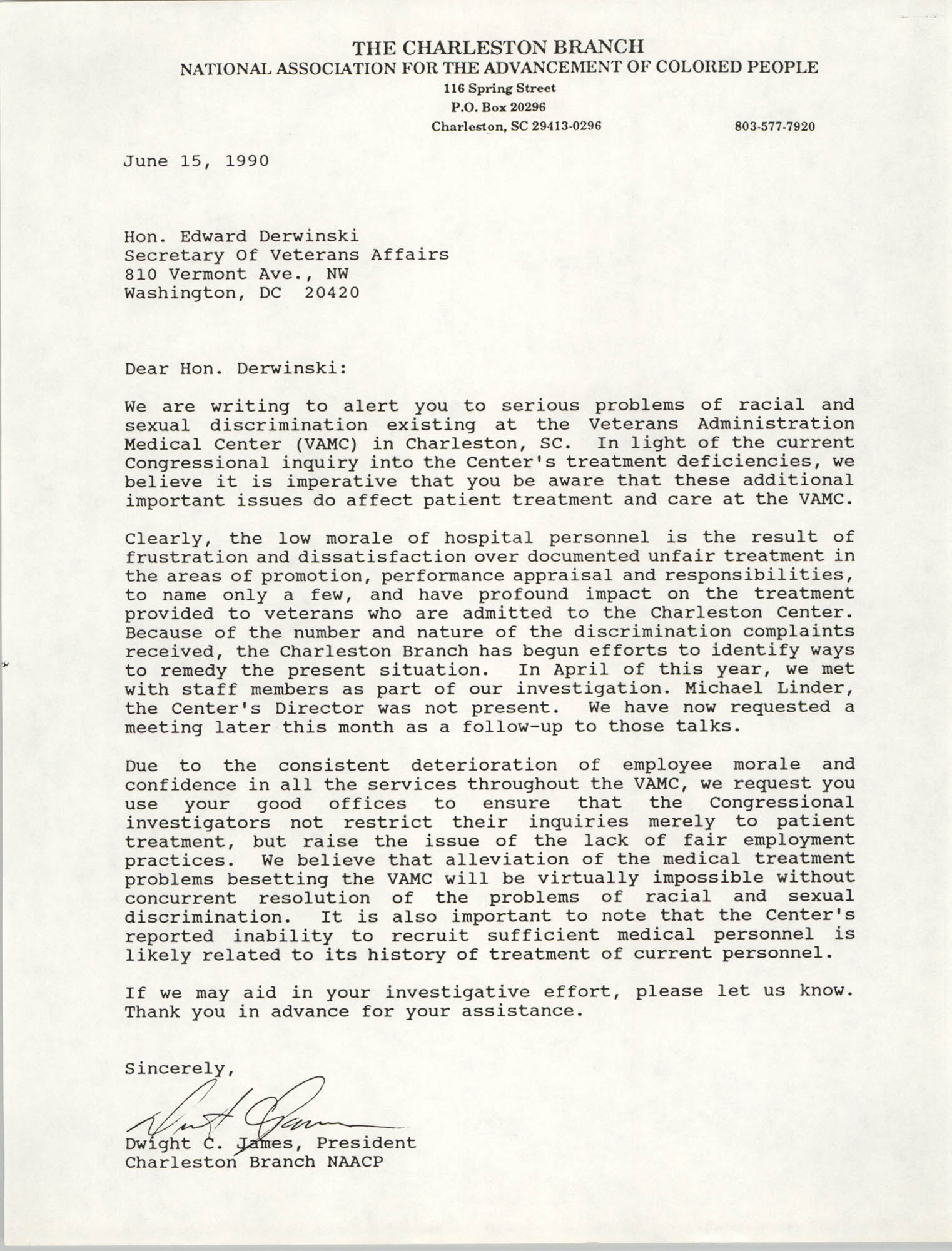 Letter from Dwight C. James to Edward Derwinski, June 15, 1990