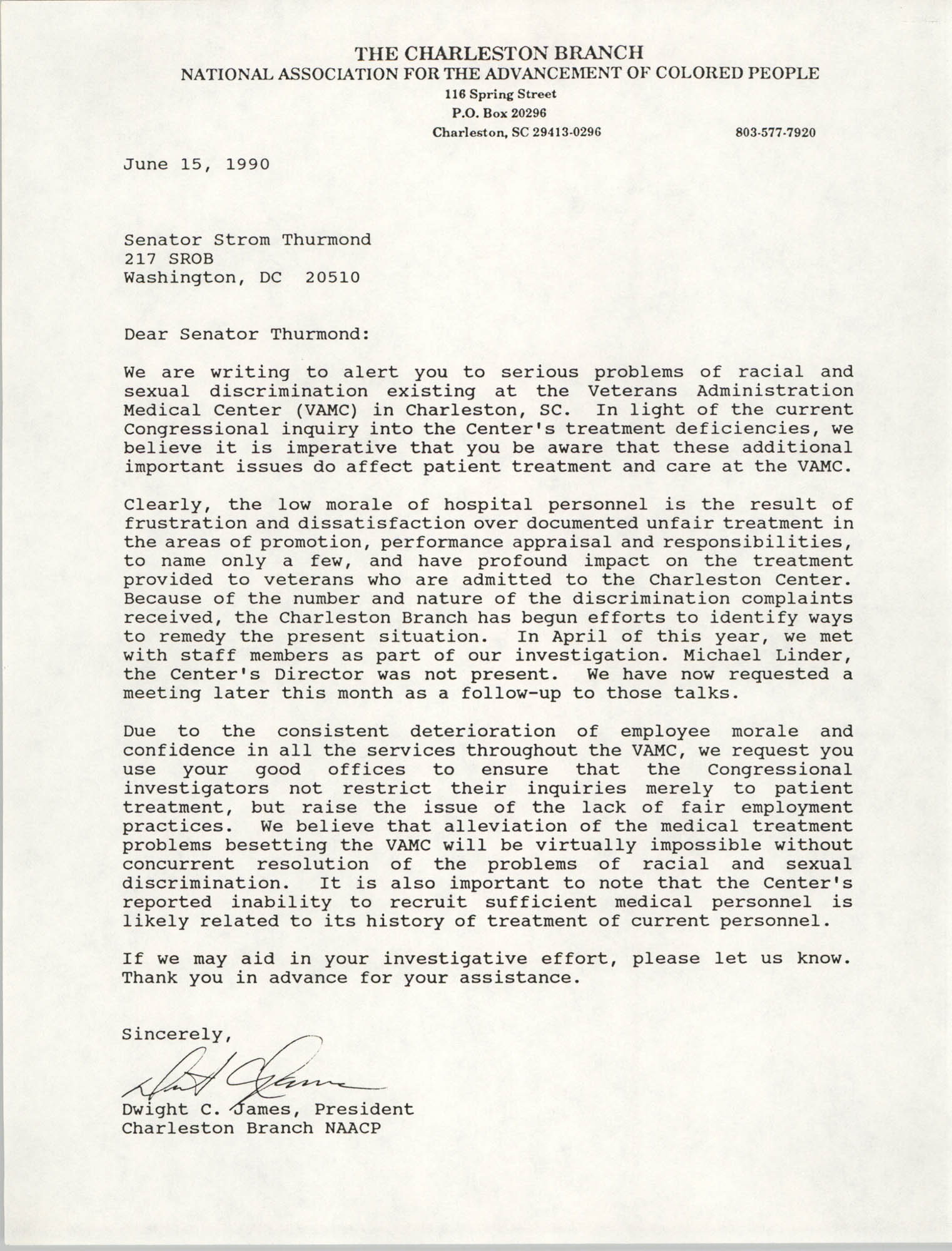 Letter from Dwight C. James to Strom Thurmond, June 15, 1990