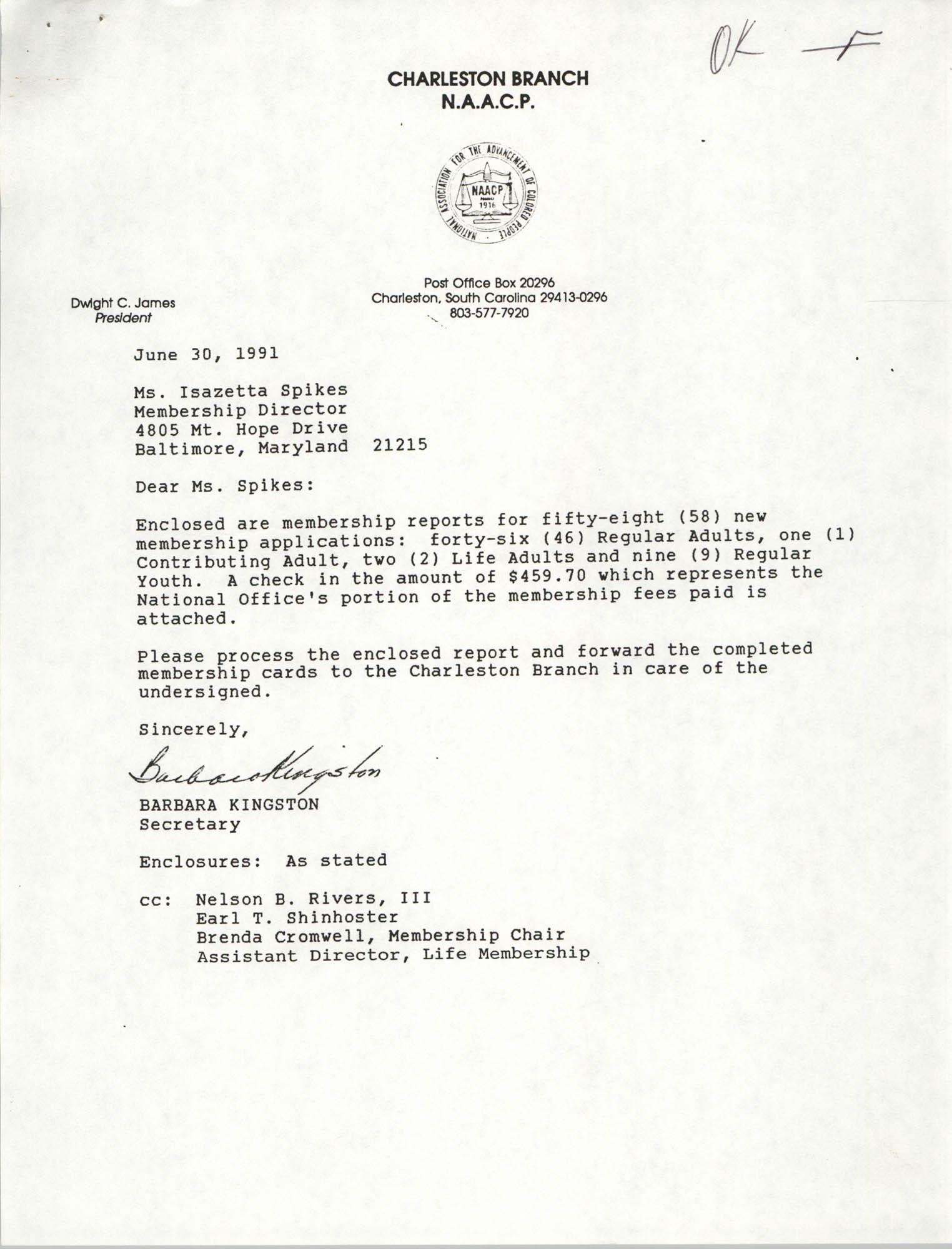 Letter from Barbara Kingston to Isazetta Spikes, June 30, 1991