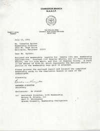 Letter from Barbara Kingston to Isazetta Spikes, July 15, 1991