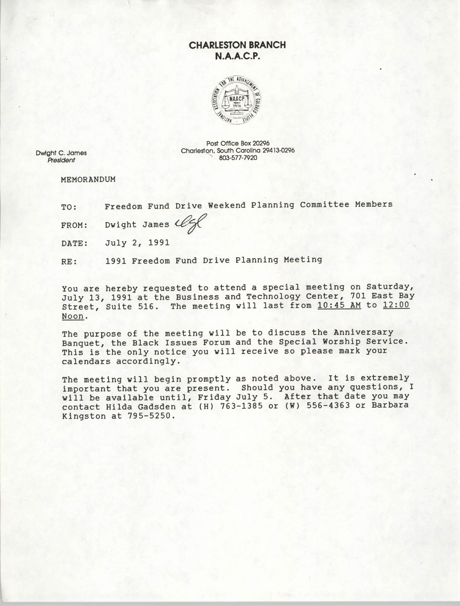 Memorandum, Dwight James, Freedom Fund Drive Planning Meeting, July 2, 1991