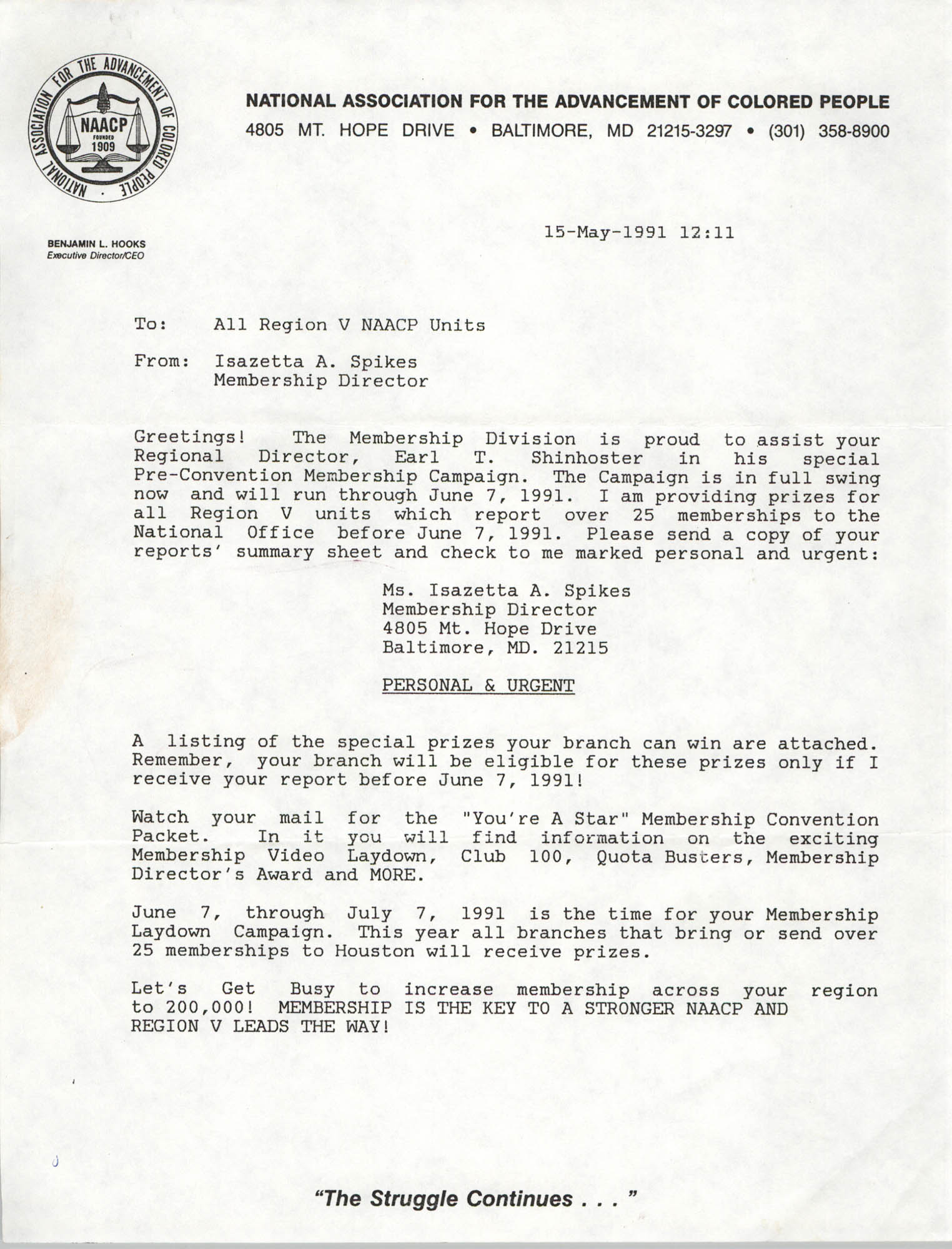 Memorandum, Isazetta A. Spikes, May 15, 1991
