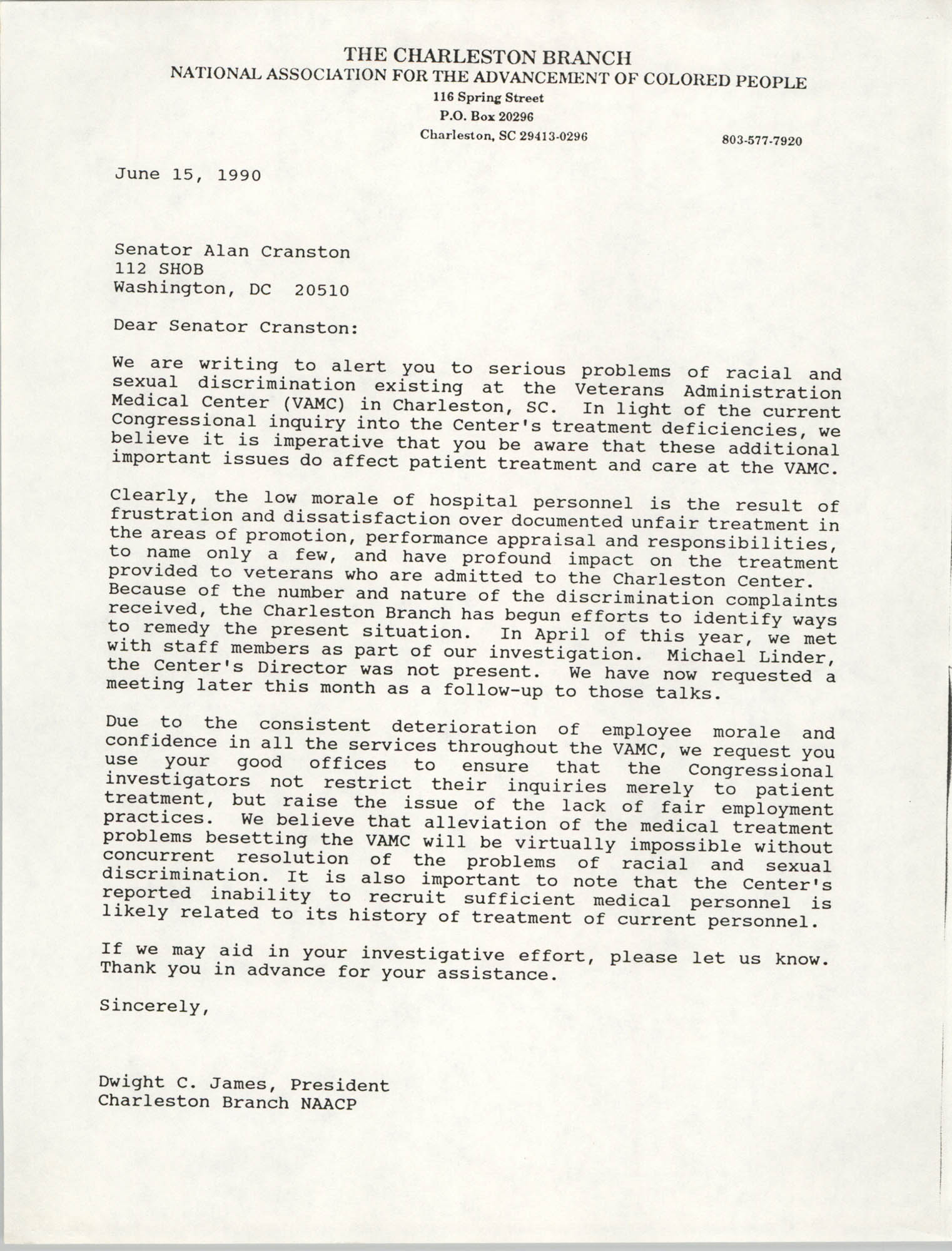 Letter from Dwight C. James to Alan Cranston, June 15, 1990