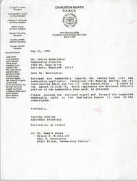 Letter from Dorothy Jenkins to Janice Washington, NAACP, May 31, 1990
