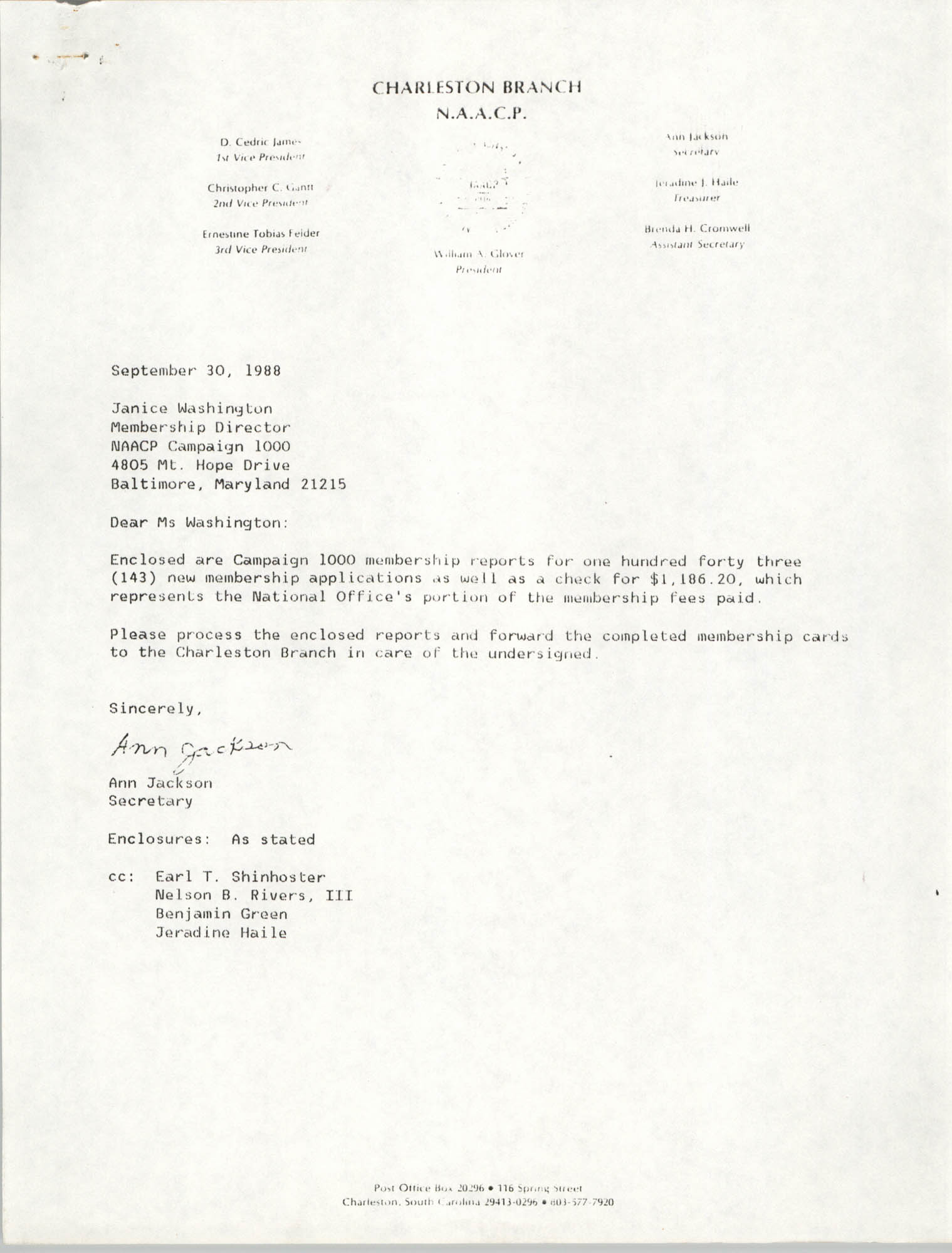 Letter from Ann Jackson to Janice Washington, NAACP, September 30, 1988