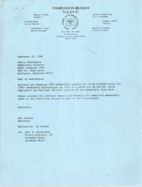 Letter from Ann Jackson to Janice Washington, NAACP, September 23, 1988