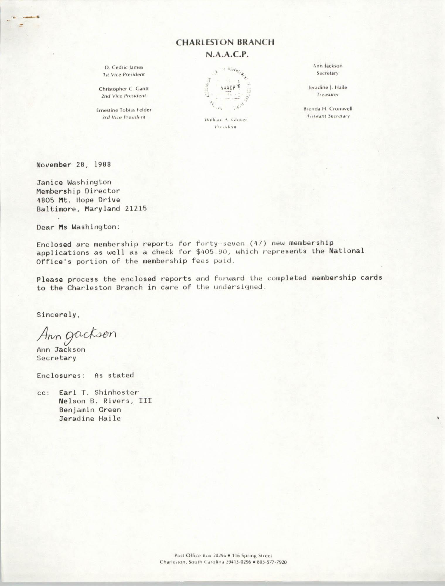 Letter from Ann Jackson to Janice Washington, NAACP, November 28, 1988