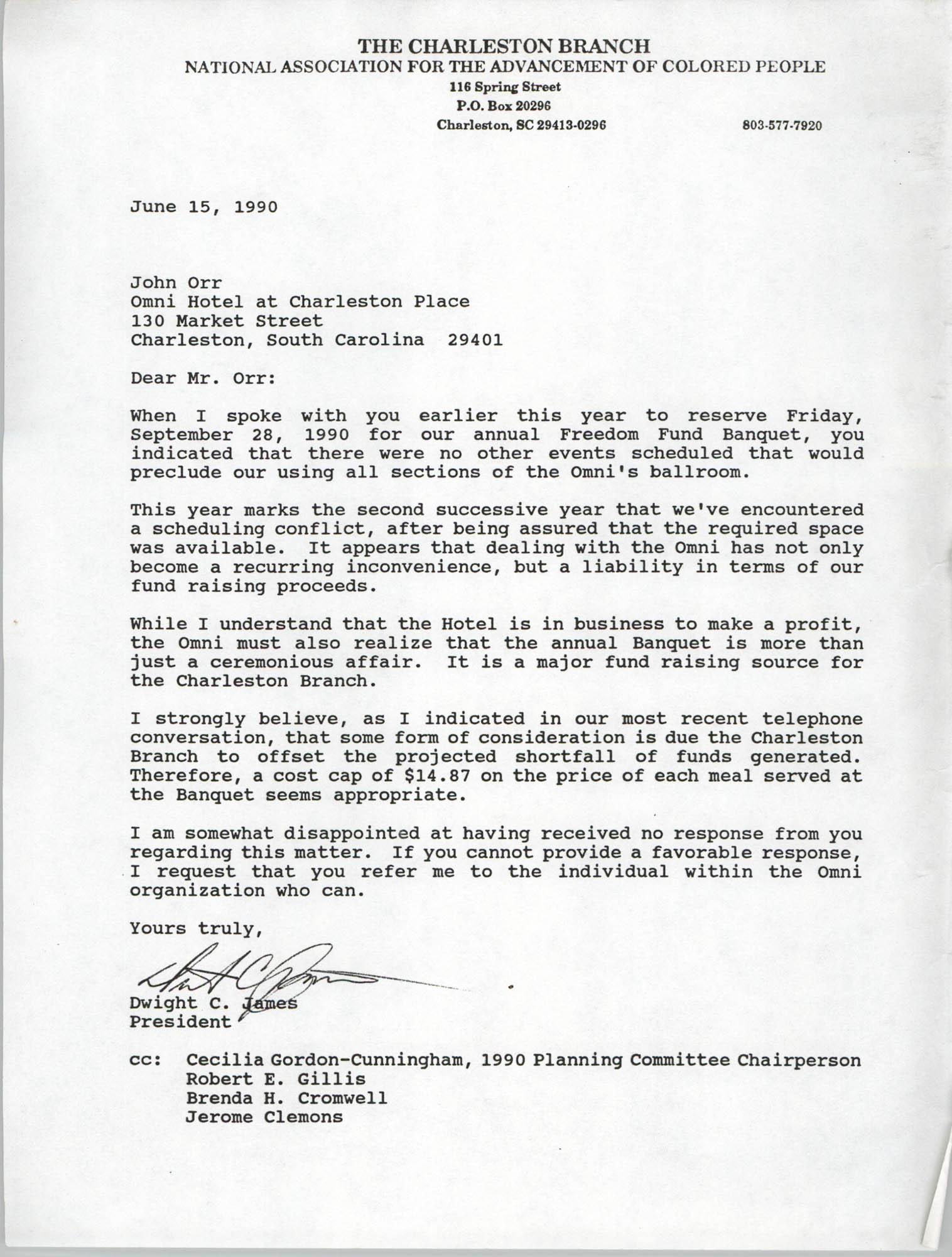 Letter from Dwight C. James to John Orr, June 15, 1990