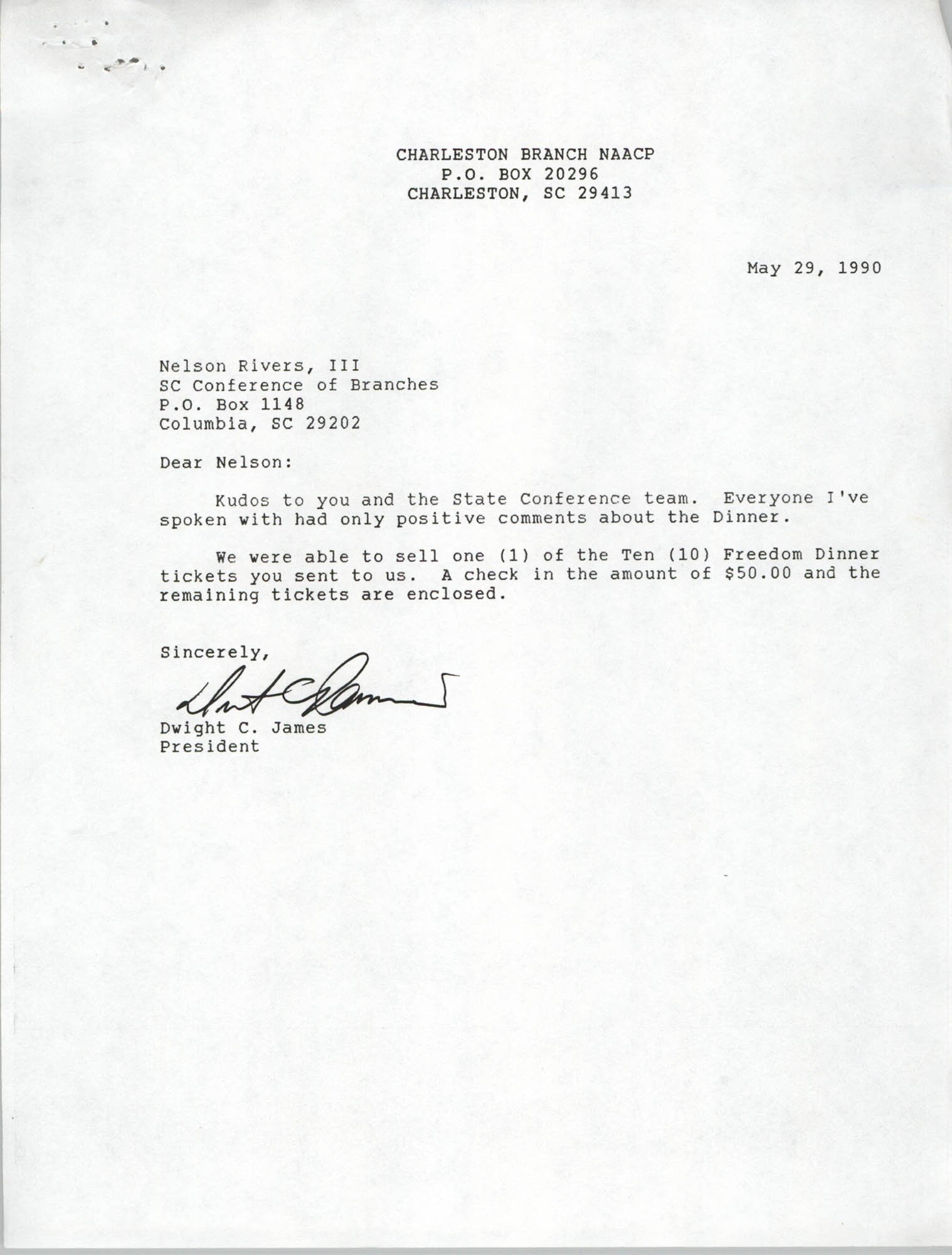 Letter from Dwight C. James to Nelson Rivers, III, May 29, 1990