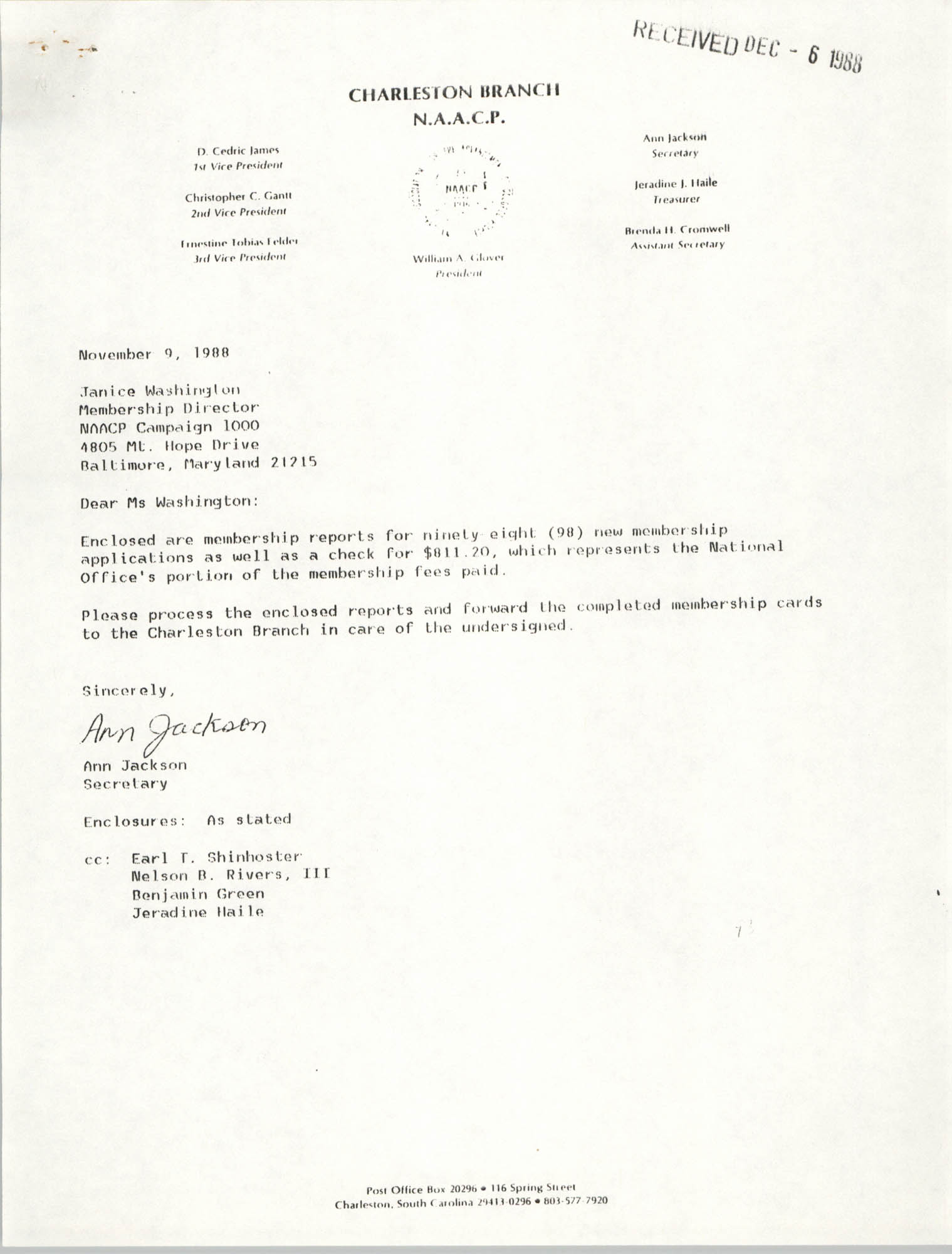 Letter from Ann Jackson to Janice Washington, NAACP, November 9, 1988