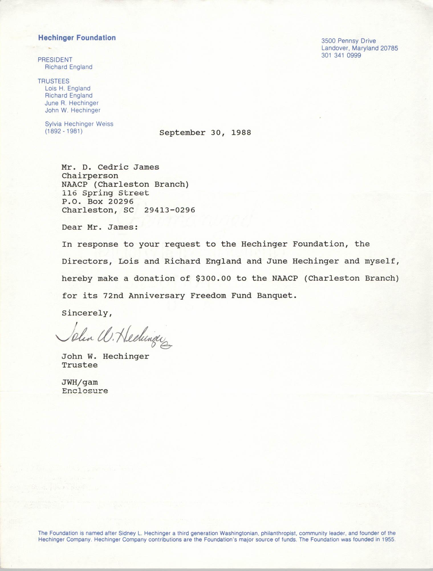 Letter from John W. Hechinger to D. Cedric James, September 30, 1988