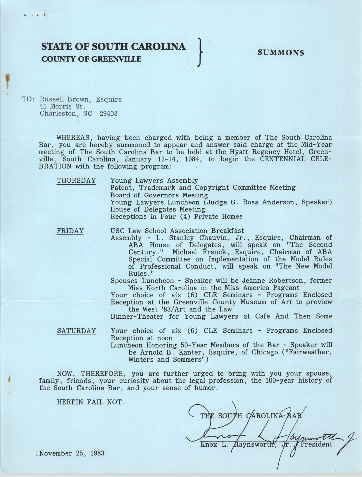 Letter from Knox L. Haynsworth Jr. to Russell Brown, November 25, 1983