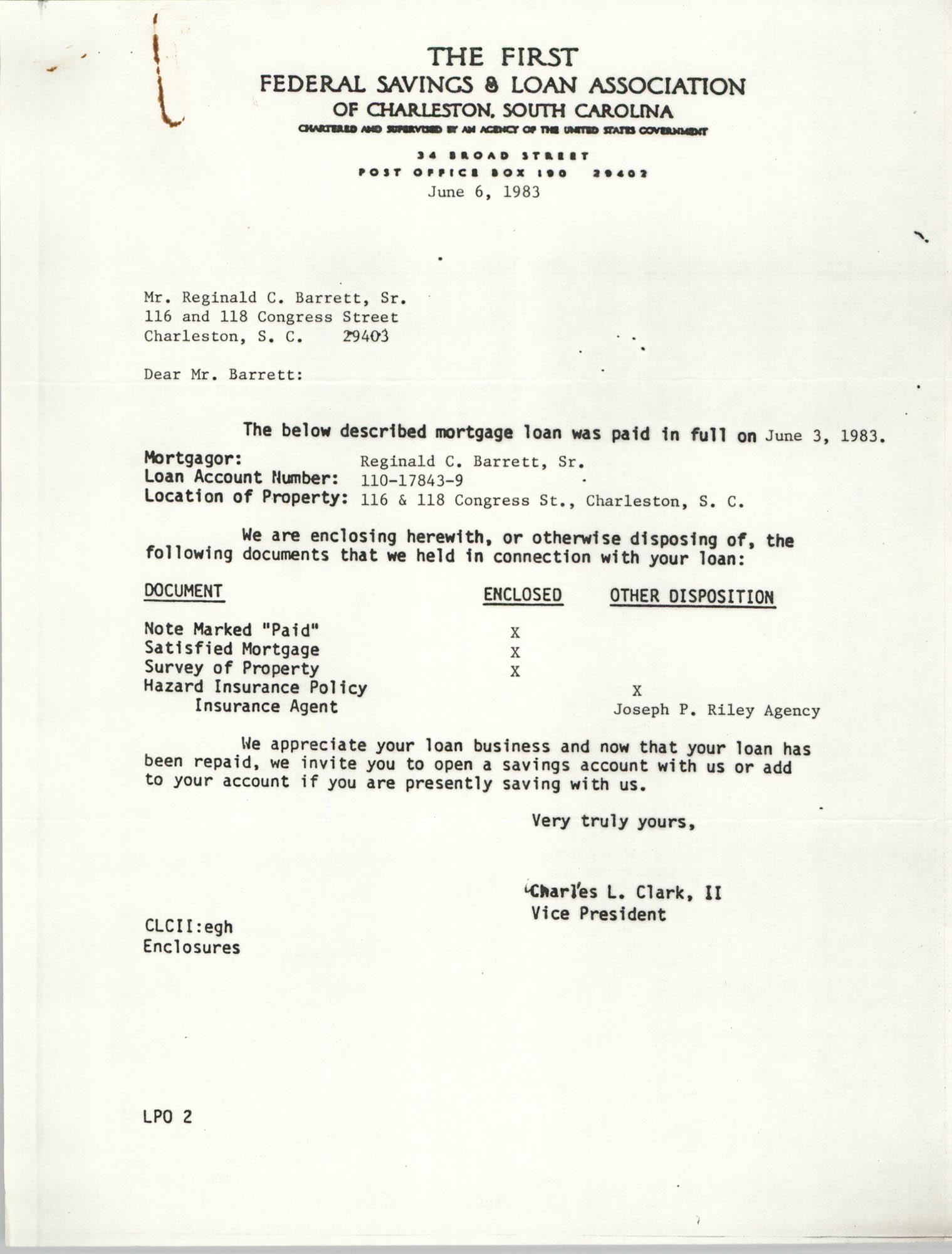Letter from Charles L. Clark II to Reginald C. Barrett, Sr., June 6, 1983