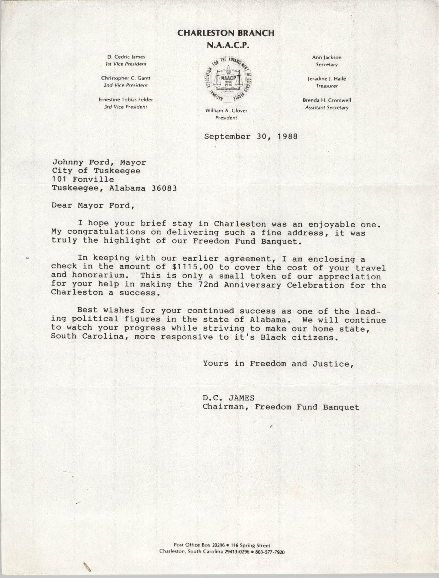 Letter from D.C. James to Johnny Ford, September 30, 1988
