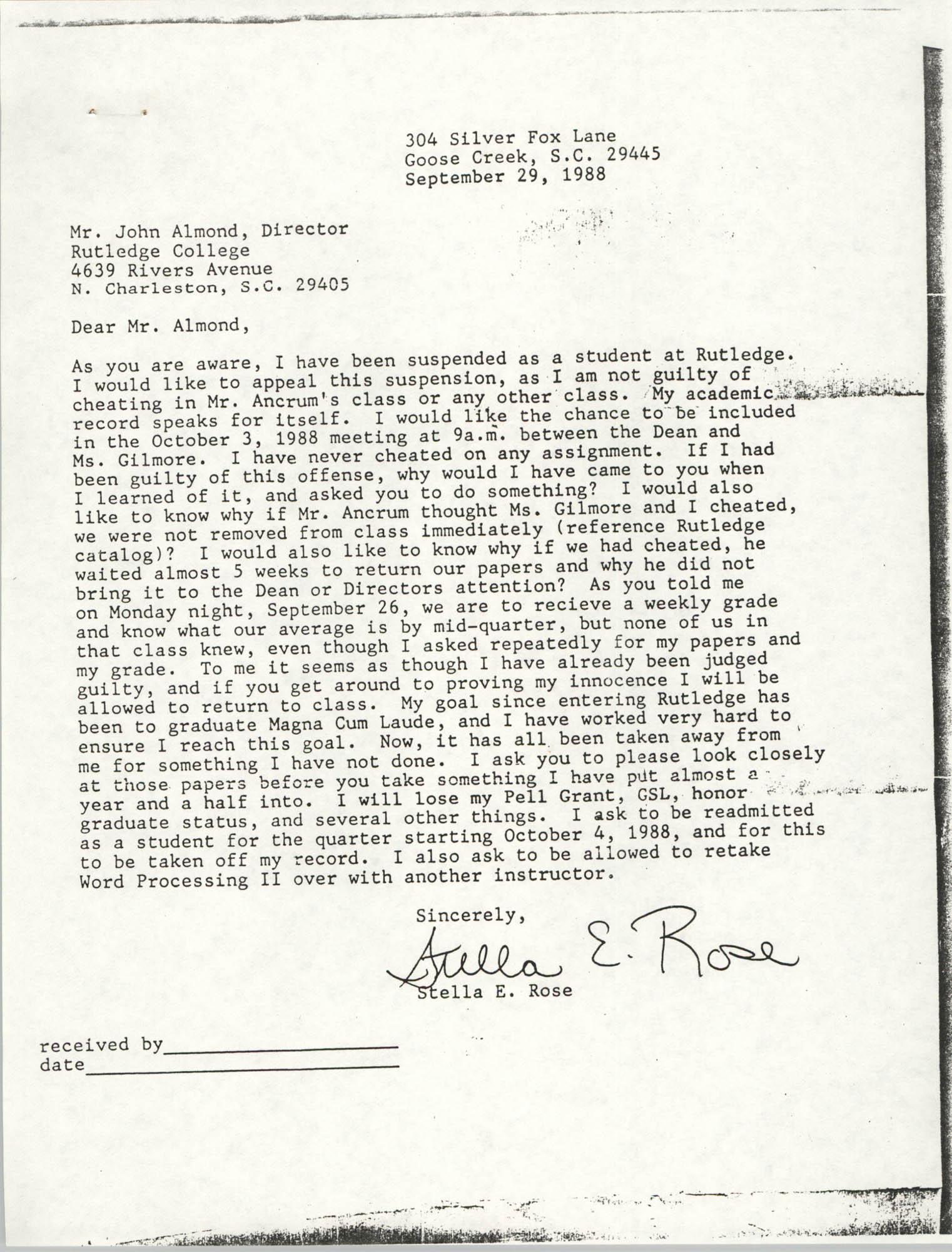 Letter from Stella E. Rose to John Almond, September 29, 1988