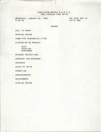 Agenda, Freedom Fund Drive, National Association for the Advancement of Colored People, January 22, 1992