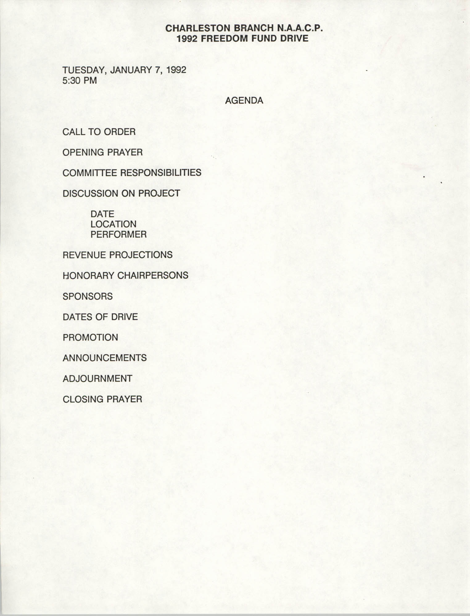 Agenda, Freedom Fund Drive, National Association for the Advancement of Colored People, January 7, 1992