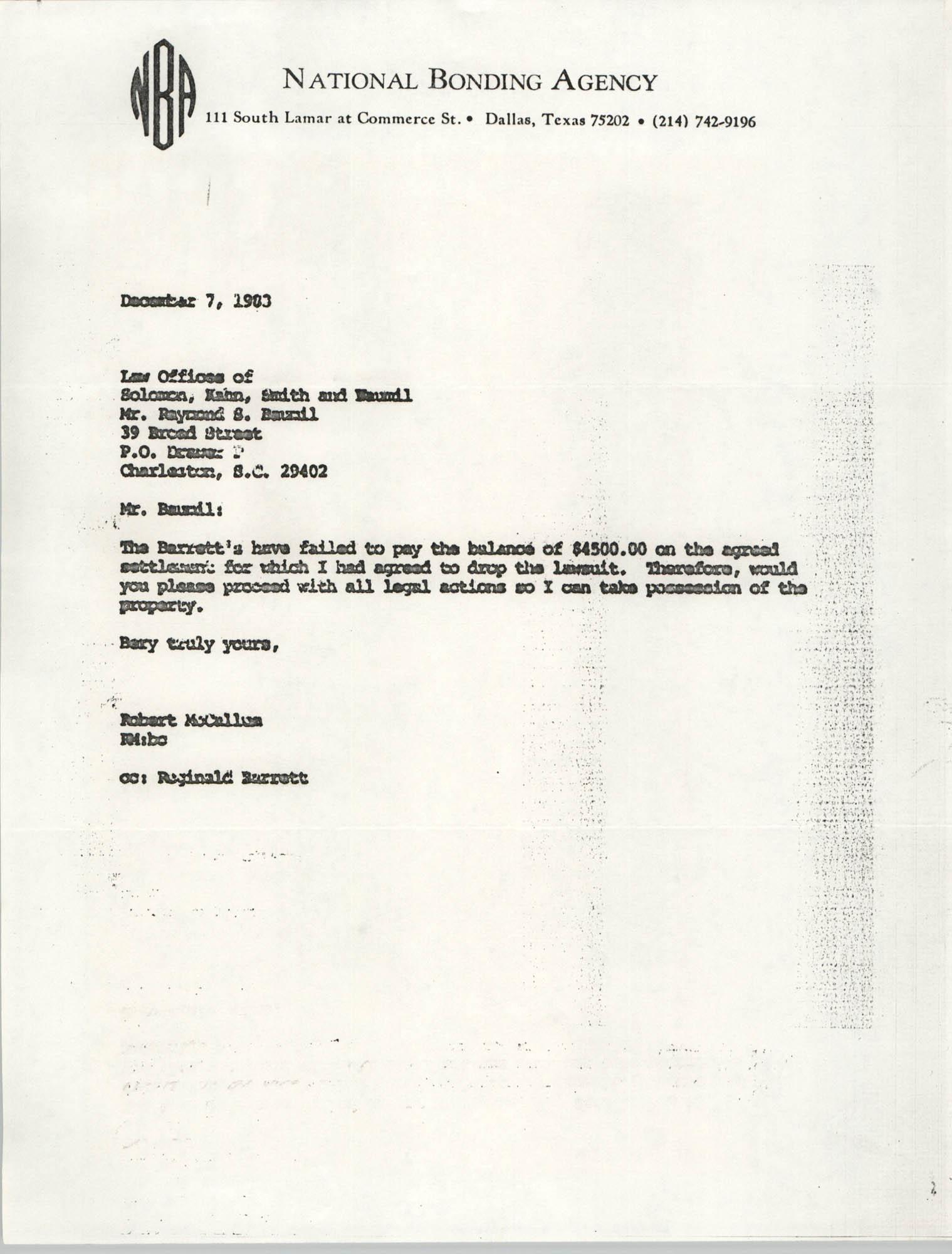 Letter from Robert McCallum to Raymond S. Baumil, December7, 1983