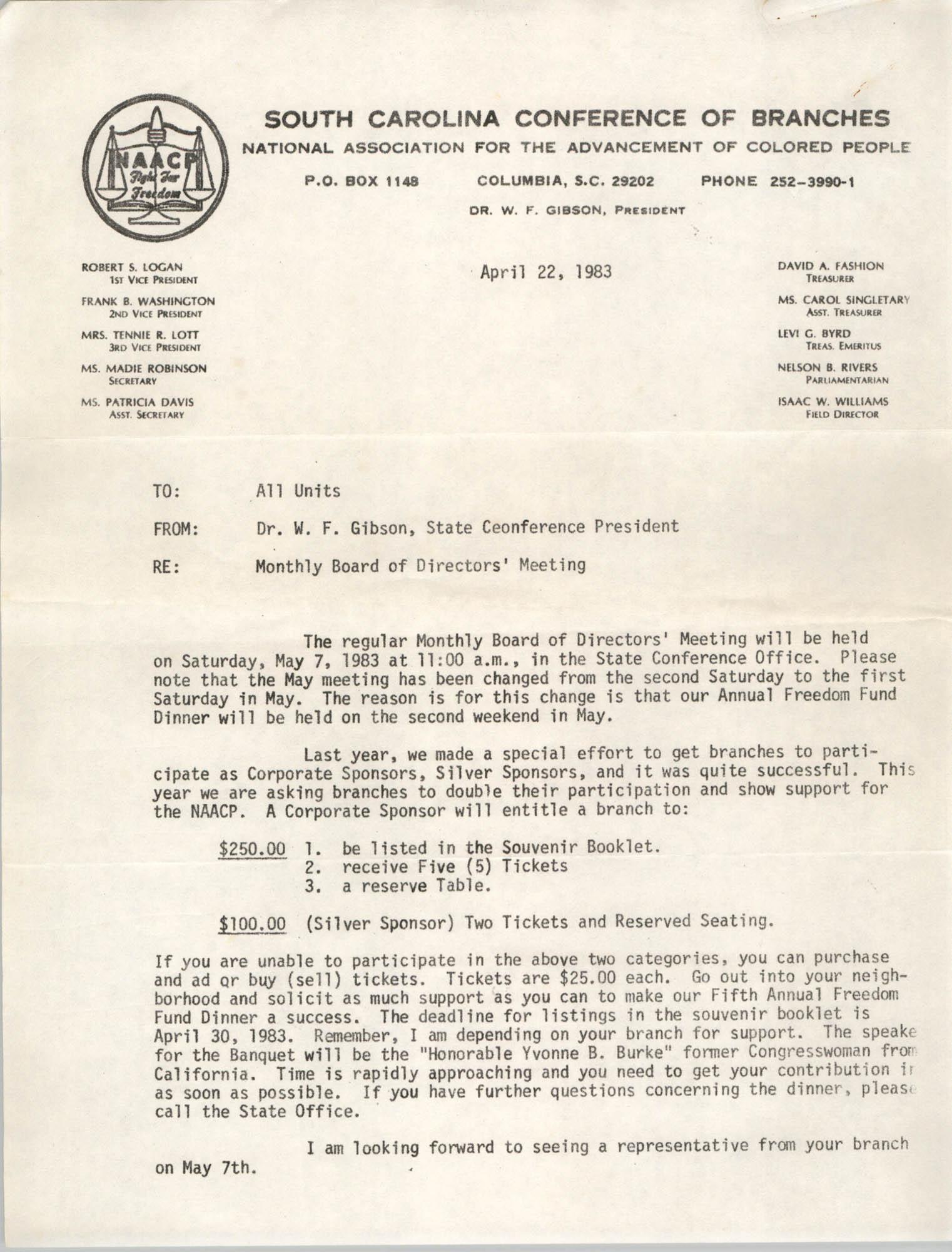 Memorandum, Dr. W.F. Gibson, April 22, 1983