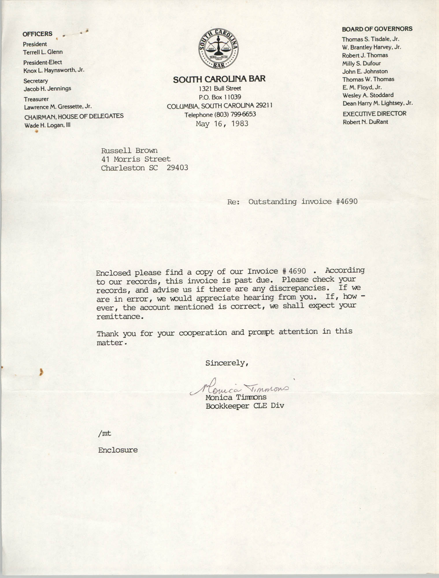 Letter from Monica Timmons to Russell Brown, May 16, 1983
