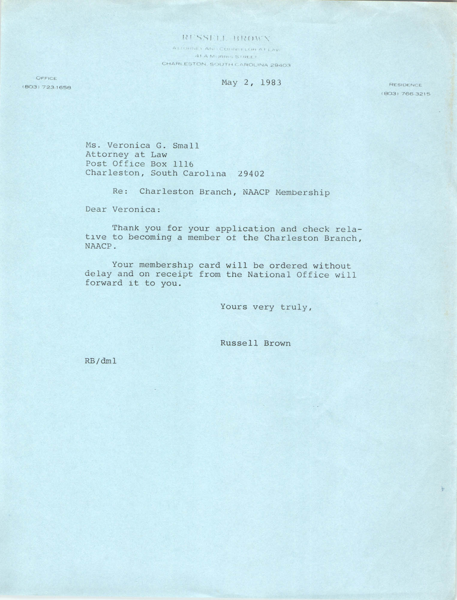 Letter from Russell Brown to Veronica G. Small, May 2, 1983