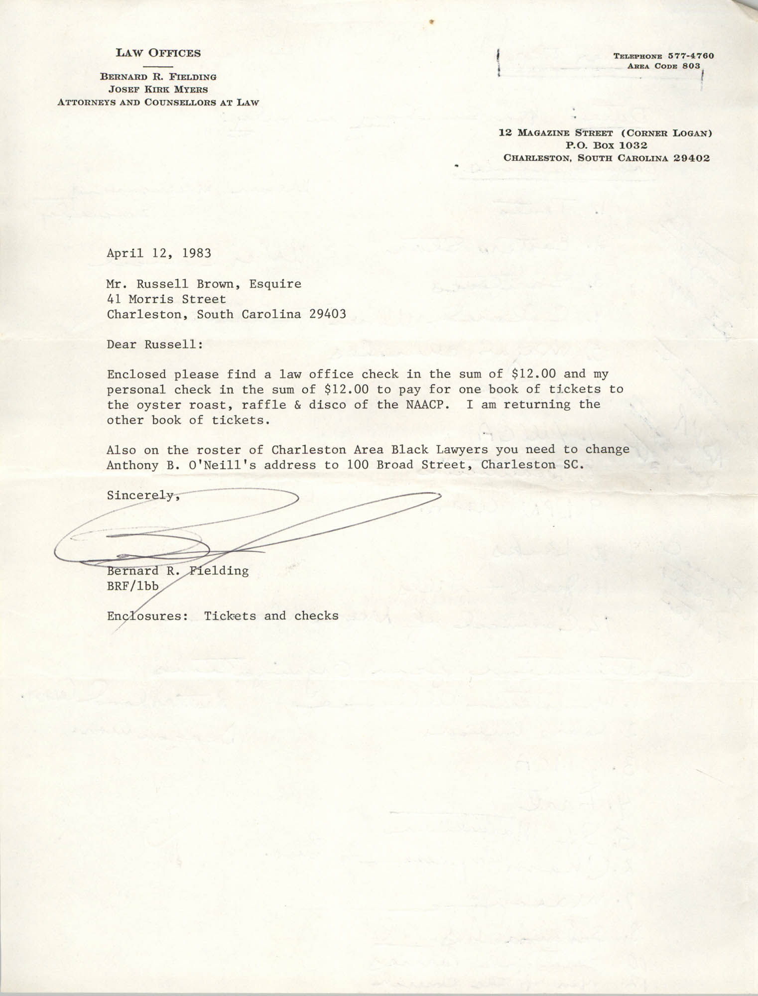 Letter from Bernard R. Fielding to Russell Brown, April 12, 1983