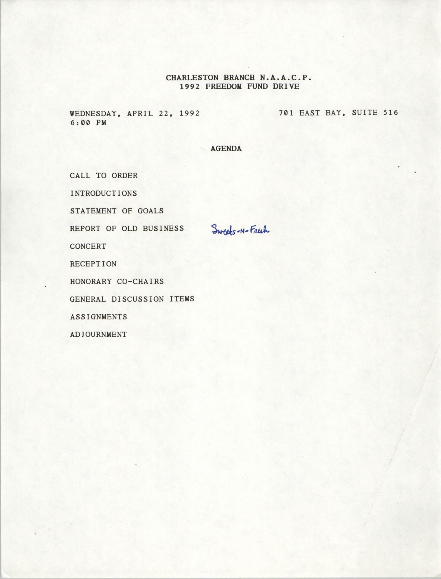 Agenda, Freedom Fund Drive, National Association for the Advancement of Colored People, April 22, 1992