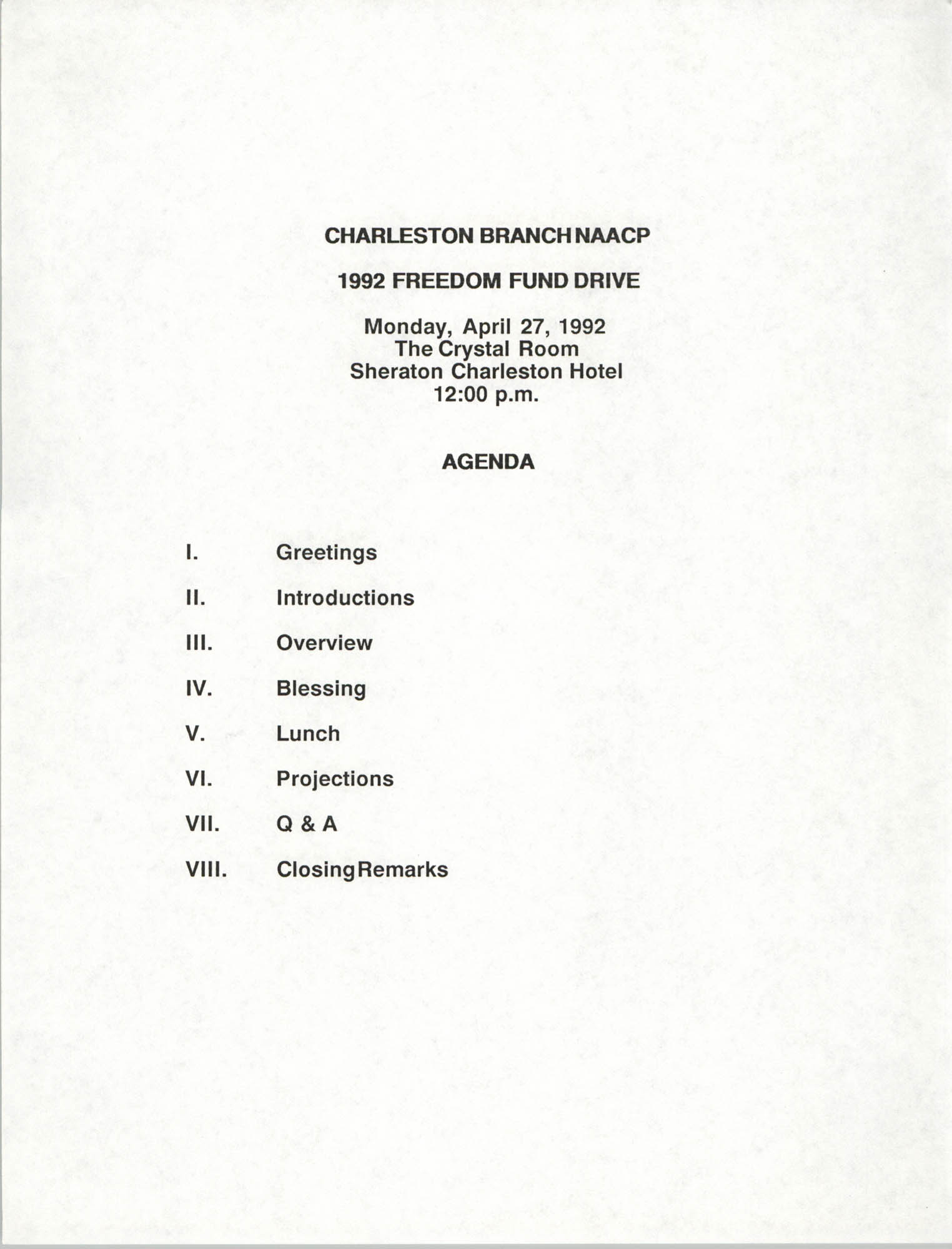 Agenda, Freedom Fund Drive, National Association for the Advancement of Colored People, April 27, 1992