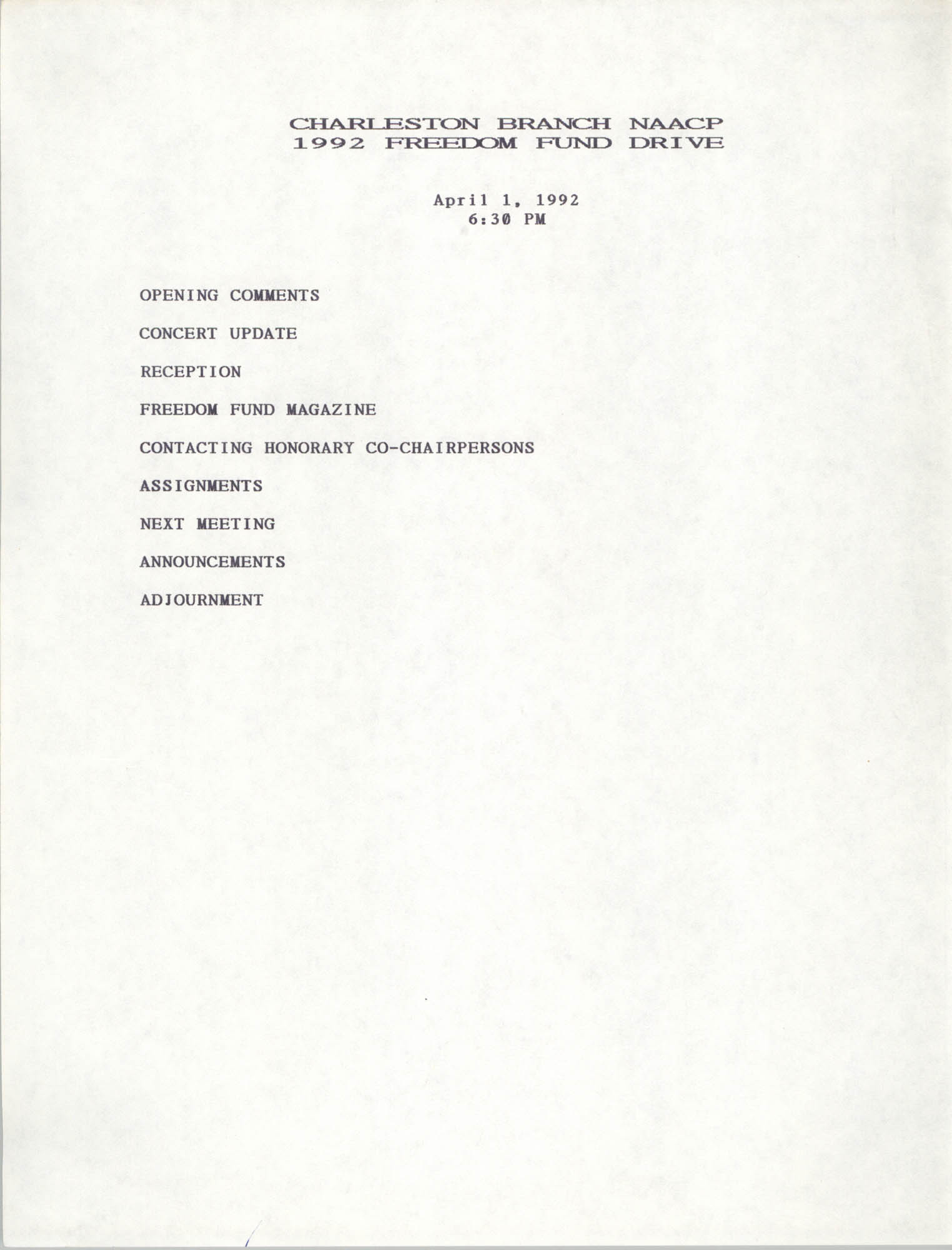 Agenda, Freedom Fund Drive, National Association for the Advancement of Colored People, April 1, 1992
