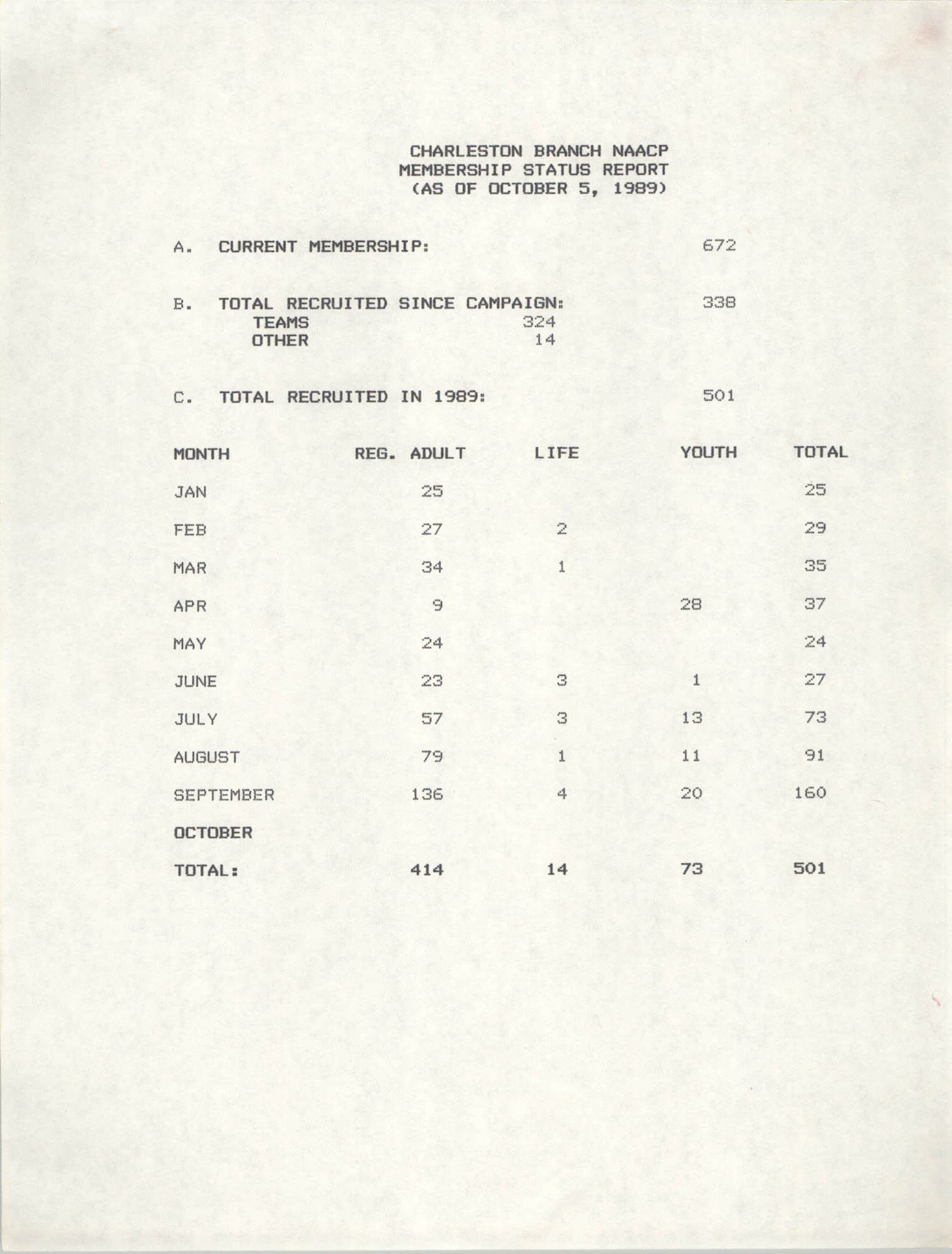 Membership Status Report, National Association for the Advancement of Colored People, October 5, 1989