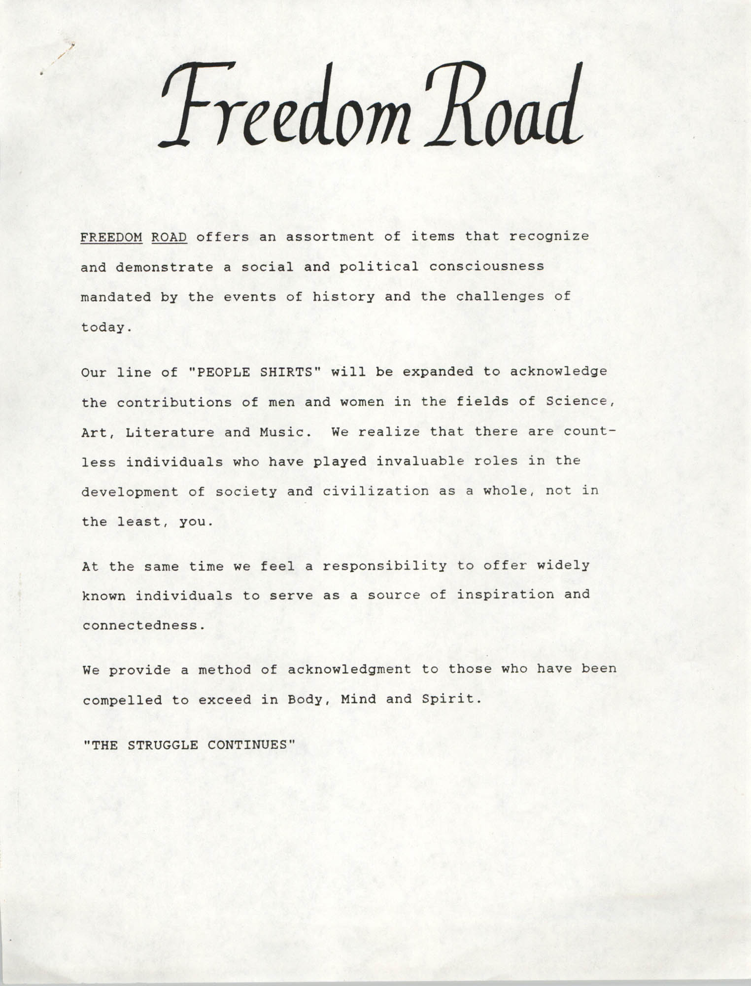 Freedom Road Mission and Order Form