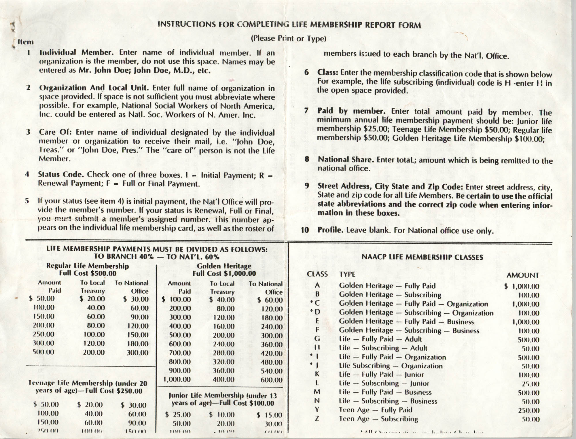 NAACP Life Membership Report Form, Instructions