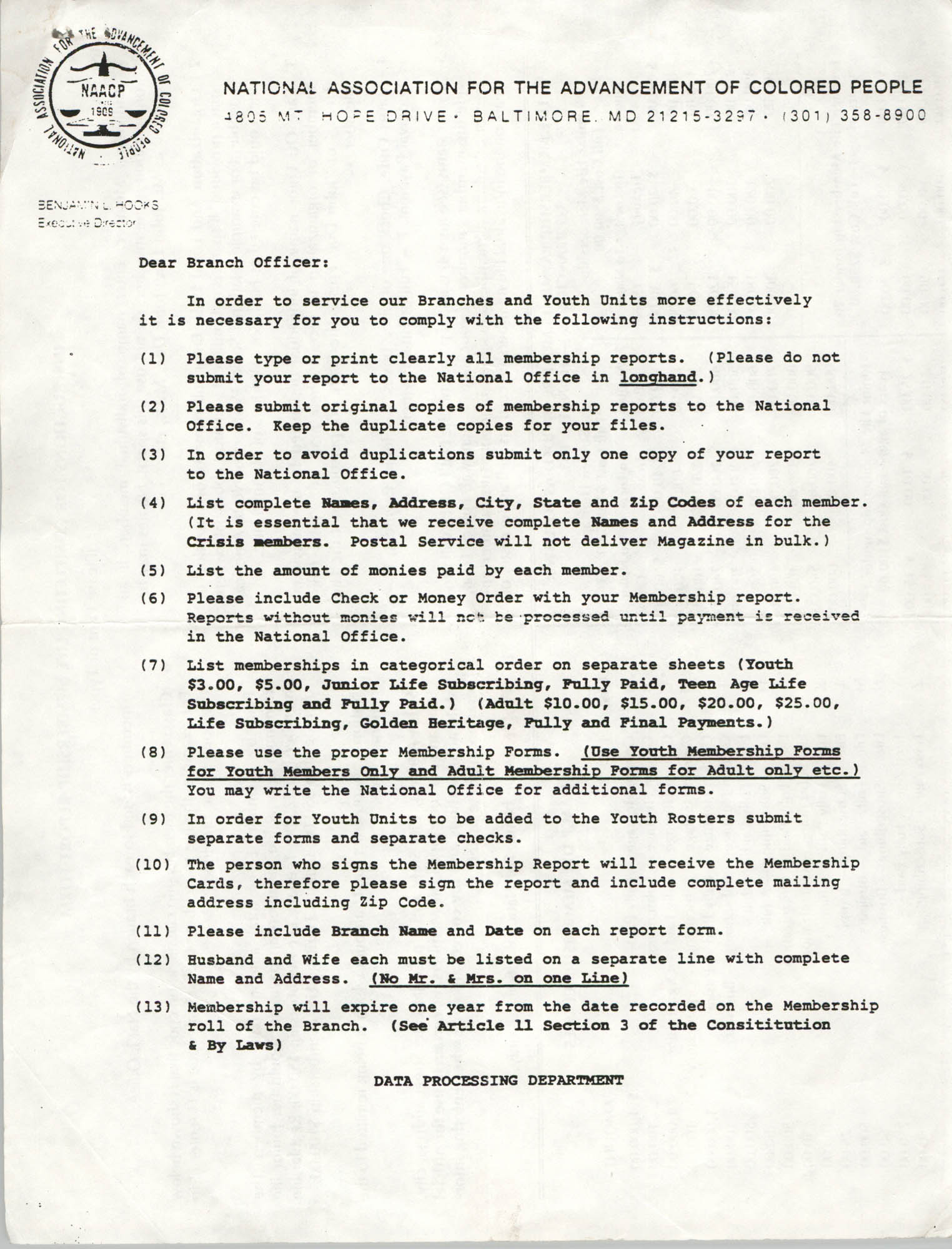 Branch Officer Instructions, NAACP