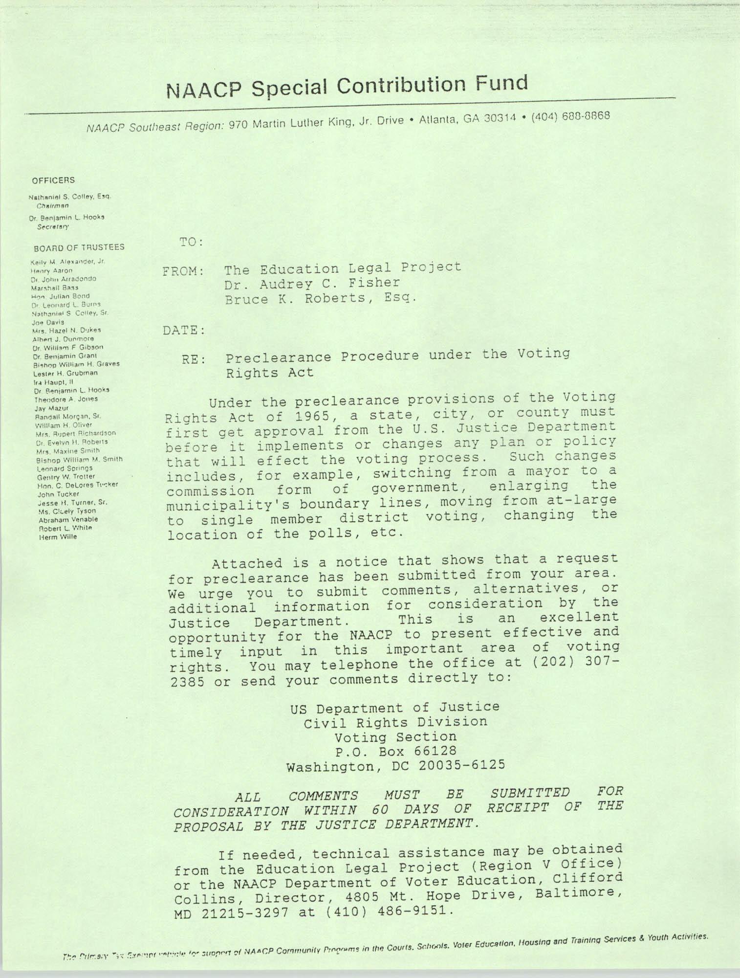 Draft, Memorandum, Education Legal Project