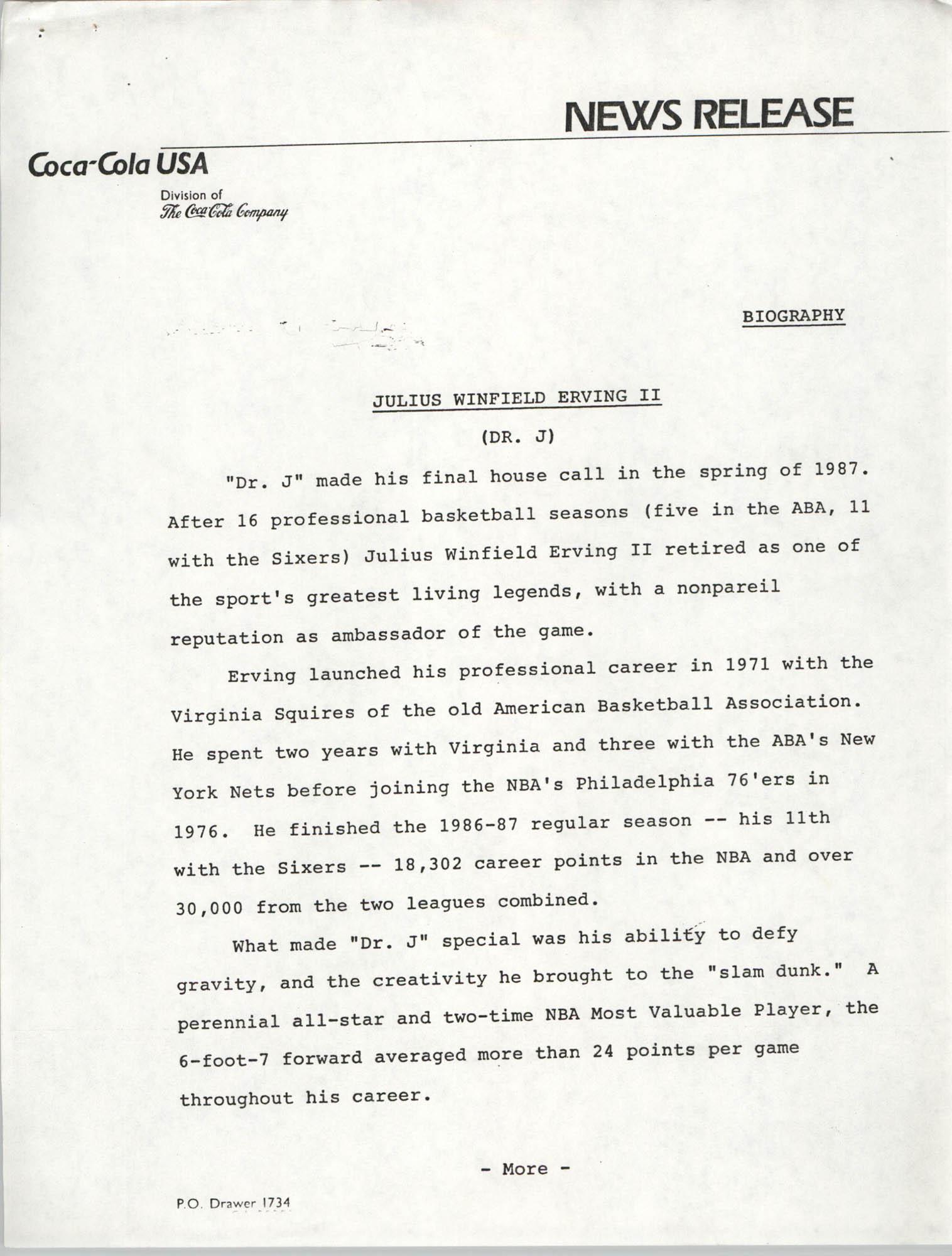 News Release, Biography, Julius Winfield Erving, II, Coca-Cola Company