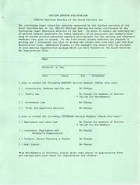 Section Seminar Registration Form, Mid-Year Meeting of the South Carolina Bar, 1982-1983