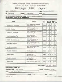 Campaign 1000 Report, Louis P. Anderson, Charleston Branch of the NAACP, September 1, 1988