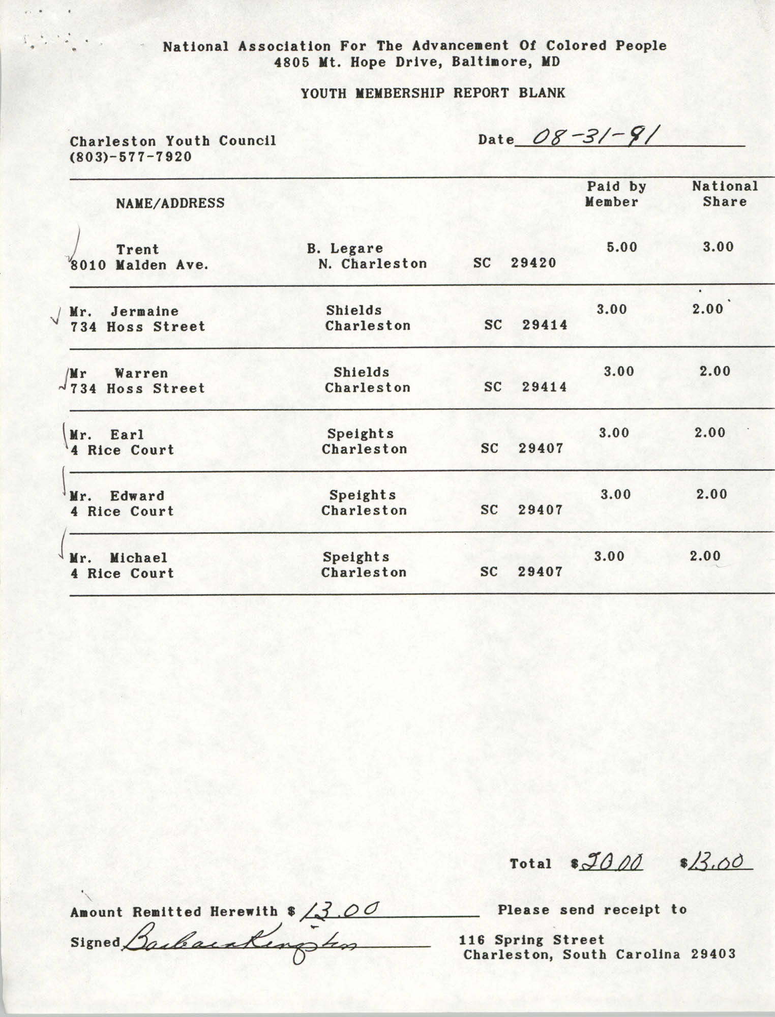 Youth Membership Report Blank, Charleston Youth Council, NAACP, Barbara Kingston, August 31, 1991