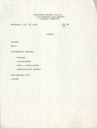Agenda, Planning Committee, Freedom Fund Banquet, July 26, 1989