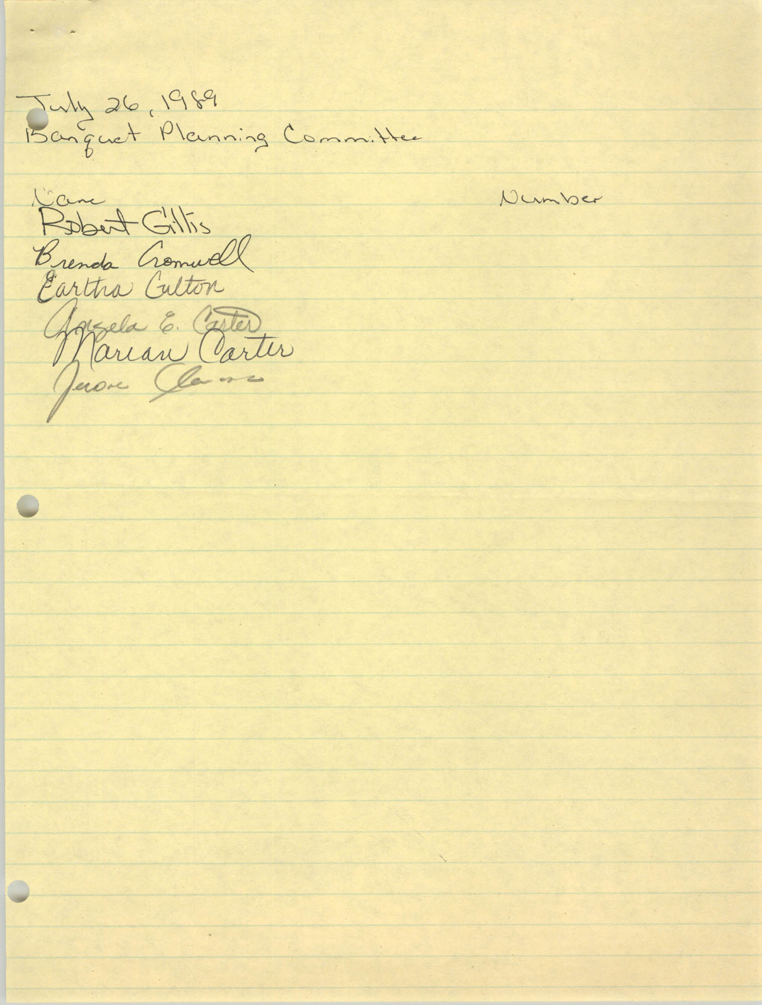 Handwritten List of Names, Banquet Planning Committee, July 26, 1989
