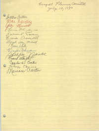 Handwritten List of Names, Banquet Planning Committee, July 12, 1989